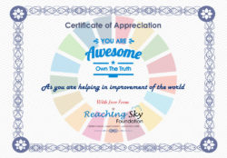 Certificate by Reaching Sky Foundation